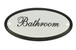 "Emaillen Türschild ""Bathroom""Zolder"" oval 100x50mm"