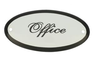 "Emaillen Türschild ""Office"" oval 100x50mm"