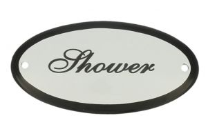 "Emaillen Türschild ""Shower"" oval 100x50mm"